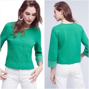 Anthropologie | Green Cropped Kelly Sweater Top